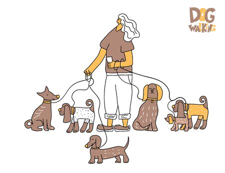 Dog walking service. Cute girl walking with different pets. Young person keeps the dogs on the leashes. Vector illustration in doodle style.