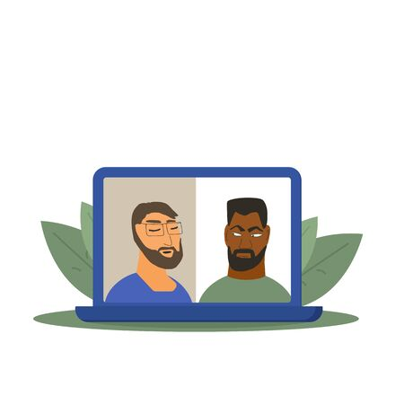 Video conference. Family distance communication. Two male coworkers taking part in online meeting for a job. Stream friends. Chatting from home. Vector flat illustration.
