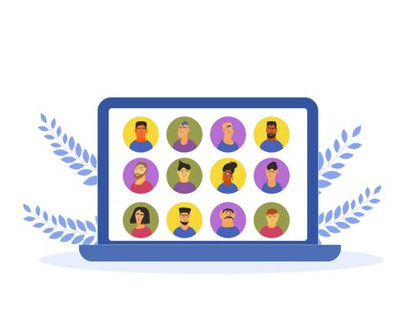 Video conference. Family distance communication. Group of coworkers taking part in digital talk. Online call or meeting for a job. Stream friends. Chatting from home. Vector flat illustration.