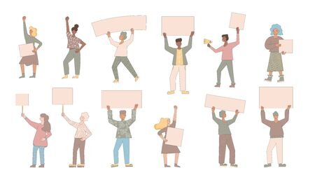 People holding placards isolated on white background. Persons standing with blanks. Men and women wearing in casual clothes with banners taking part in picket. Social activism. Vector illustration.
