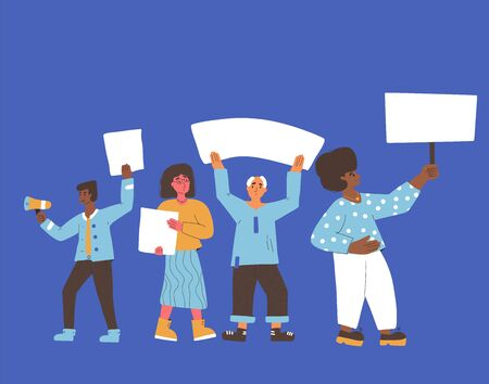 Protest. Crowd of people holding placards. Persons standing together with blanks. Group of men and women with banners taking part in parade, picket. Social activism. Vector flat illustration.