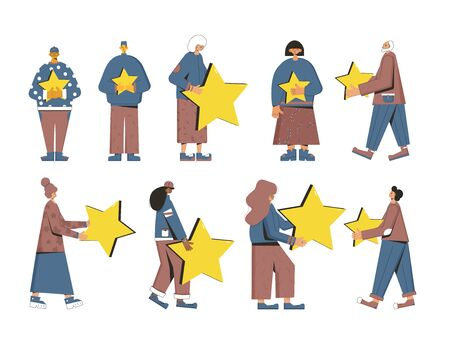 Consumer review. Feedback. People holding stars in their hands set isolated on white background. Service rating. Satisfaction level. Vector flat illustration.
