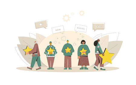Customer review rating. Feedback concept. Happy clients standing with gold stars and comment speech bubbles. Service rating. Vector flat illustration. 向量圖像