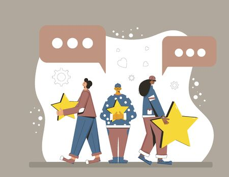 Feedback concept. Client review. Young people in casual clothes holding gold stars in their hands. Service rating. Satisfaction level. Consumer product ranking. Vector flat illustration.