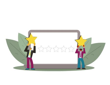Consumer review rating. Feedback concept. Two persons holding stars in their hands with laptop screen. Service rating. Satisfaction level. Vector flat illustration. 向量圖像