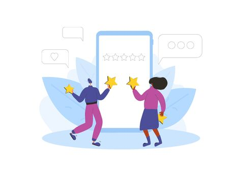 App feedback concept. Client giving a good grade. Two female characters standing near huge phonewith gold stars. Service rating. Satisfaction level. Consumer product review Vector illustration. 向量圖像