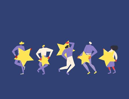 Feedback concept. Five characters holding stars in their hands. Service rating. Satisfaction level. Consumer product review Vector flat illustration.