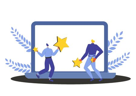 Consumer review rating. Feedback concept. Two persons holding stars in their hands and dancing with laptop screen. Service rating. Satisfaction level. Vector flat illustration.