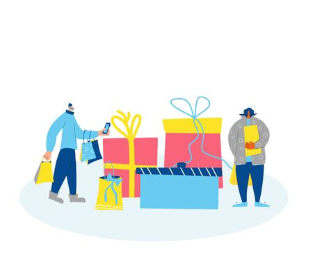 Two tiny characters with huge gift bags. holiday sale concept. Persons standing wiht shopping bags and phone. Vector color flat illustration.