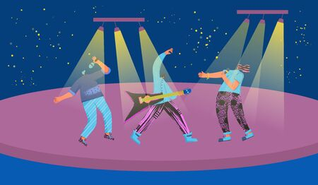 Song show. Music band performing on a stage. Three rock musicians singing with microphones and playing guitar. Young men and woman artists. Pop trio concept. Vector flat characters illustration.