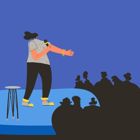 Standup show. Female comic performing on a stage. Comedian. Vector flat characters illustration. Ilustración de vector