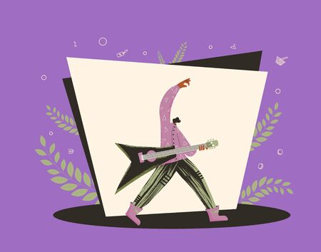 Guitarist performing on a stage. Rock musician playing guitar scene. Vector flat character illustration.