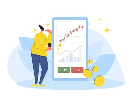 Investment application concept. Minor shareholders choosing buy or sell with mobile app. Stock market  boom. Young woman thinking about growth in equity prices with huge phone. Vector flat.