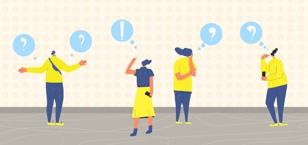 Pensive people team. Man and women dressed in casual clothes standing together in doubt. Person frustrated by current situation. Group of characters thinking about problems. Vector flat illustration.