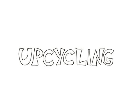 Upcycling hand drawn text. Lettering emblem. Reuse and upcycle hand made. Vector word isolated on white background. 向量圖像