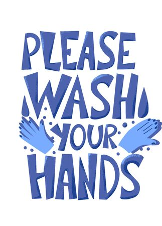 Please wash your hands hand drawn text. Personal hygiene and disinfection notice. Vector illustration. 向量圖像