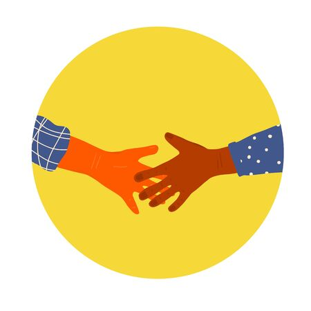 Handshake icon. Partnership symbol. Personal hygiene and disinfection notice. Vector illustration.