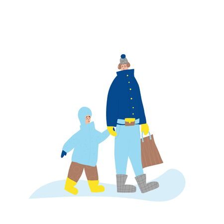 Family characters dressed in warm trendy clothes walking at winter snow. Parent and kid going with shopping bag isolated on white background. Vector color flat cartoon illustration. 向量圖像