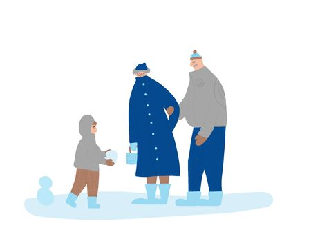 Family winter walking. Grandfather, grandmother and little grandson standing together. Happy persons dressed in warm trendy clothes. Boy hands the mature couple a snowball. Vector flat illustration