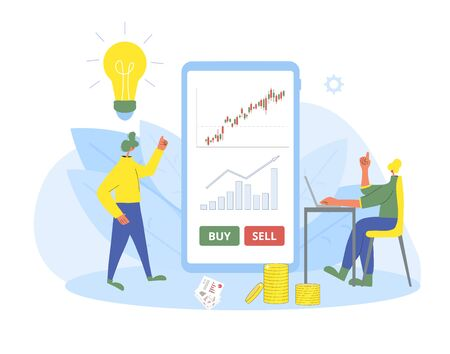 Investment application concept. Minor shareholders choosing buy or sell with mobile financial app. Stock market boom. Young woman and man thinking about growth in equity prices with huge phone. Vector 向量圖像