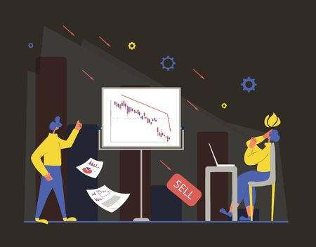 Stock market crash. Invest in the company's bonds fail. Frustrated man and woman with reports of stocks plummeting and paper sheets. Global recession. Vector flat illustration.