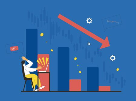 Invest in the company's bonds fail. Inexperienced minor shareholder. Stock market crash. Frustrated man looking at computer screen on graph. Collapsing stock prices. Vector flat illustration.