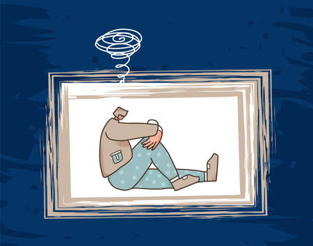 Bad thought. Sad teenager. Young man with bad mood, headache, insomnia or stress sitting on the floor. Vector illustartion.