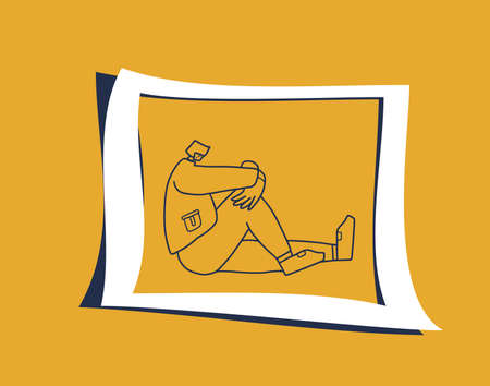 Mental disorder. Psychological issues. Young man with bad mood, headache, insomnia or stress sitting on the floor. Vector illustartion. Stock Illustratie