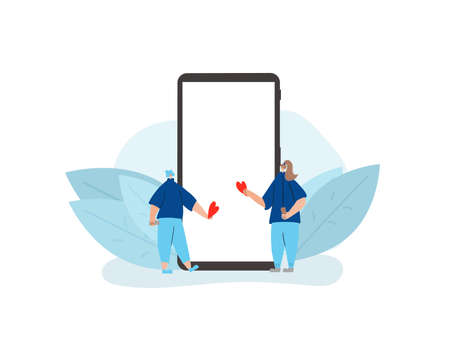 Online dating concept. Couple of young people giving hearts symbols to each other with huge phone. Romantic relationship event app. Valentines Day. Stock Illustratie