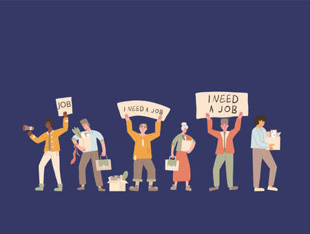 Protests against dismissal. Jobless people. Job search. Unemployed in search of work. Group of people shows the sign.