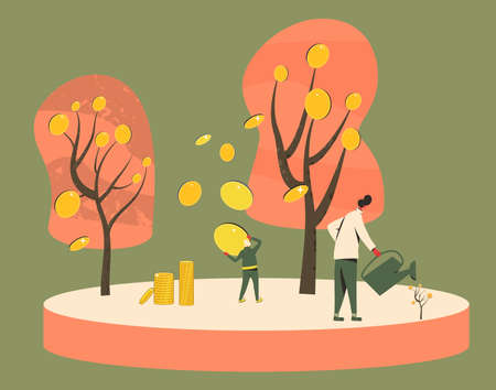 Getting rich scene. Investment. Minor shareholders making money. Stock market boom. Growth in equity prices. Tiny people watering money trees and harvesting crops of huge coins. Ilustração