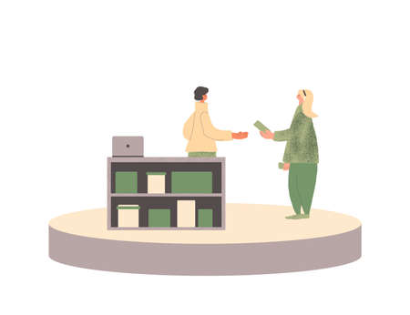 Local retail business concept. Corner shop. Female dressed in casual clothes buying a hand made goods. Flea market. Stock Illustratie