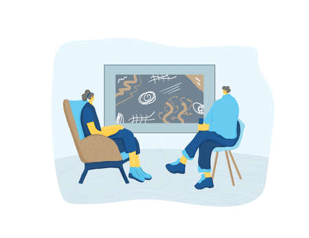 Counseling concept. Psychology therapy session. Young psychologist sitting and talking with client about mental problems. Therapist and patient having a consultation. Vector flat color illustration.