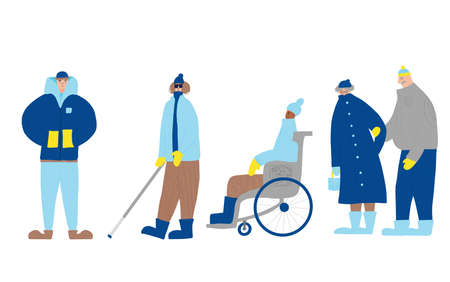 People dressed in warm clothes. Set of characters isolated on white background. Man in wheelchair, visually impaired person, mature couple, guy wearing in loose jacket. Vector flat illustration.