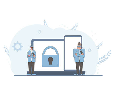 Online privacy. Data protection concept. Security guards defending confidential information. Two characters saving social media users trails. Characters with laptop and phone with lock sign.