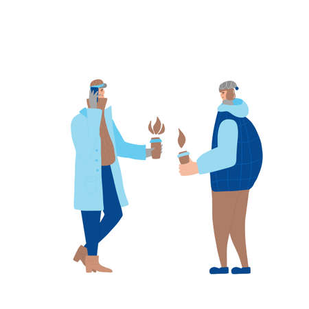 Two male characters different generations dressed in winter clothes standing opposite each other and holding coffee.