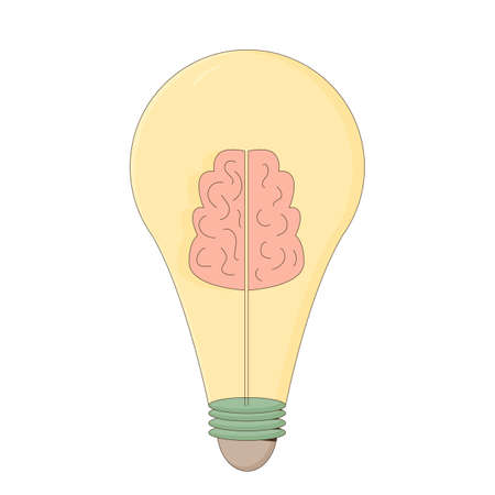 Creative idea. Smart solution lightbulb. Bulb with brain sign. Metaphor symbol isolated on white background.