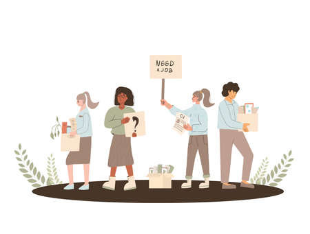 Protests against dismissal. Jobless people. Job search. Unemployed in search of work. Group of people shows the sign. Vector flat illustration.  イラスト・ベクター素材
