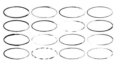 Set of black oval grunge frames. Geometric elipse empty borders collection. Vector illustration.