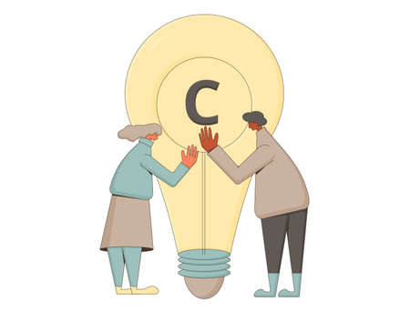 Intellectual property rights. Copyright sing. Avoid plagiarism and infringement of copyright. Vector characters hugging with creative new idea isolated on white background. 向量圖像