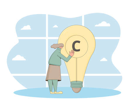 Intellectual property rights. Copyright sing. Avoid plagiarism and infringement of copyright. Vector character hugging with creative new idea. 向量圖像