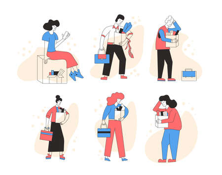 Unemployed characters set. Dismissed sad persons holding paper box collection. Work crisis. Fired unhappy men and women with his things isolated on white background. Job search. Vector illustration.