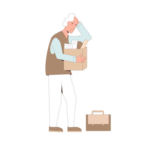 Retirement. Dismissed character. Unemployed sad person holding paper box. Work crisis. Fired unhappy mature man standing with his things isolated on white background.Vector flat illustration.  イラスト・ベクター素材