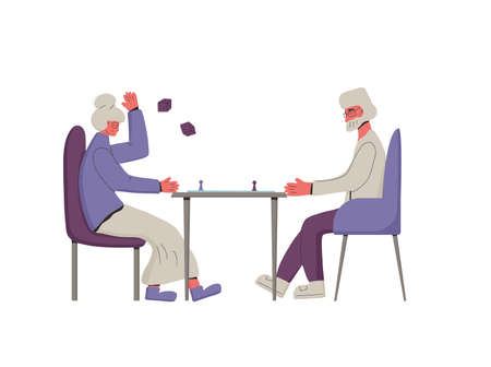 Boarding game. Senior people spend time together. Mature man an woman playing a table game. Friends staycation. Vector color illustration.