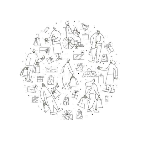 Holiday fuss concept. Different character with shopping bags, phones, credit cards surrounded by gifts, presents, surprises. Sale concept. Round composition. Illustration in doodle style.