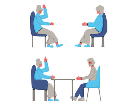 Senior people spend time together. Mature man an women talking about their life. Vector color illustration.