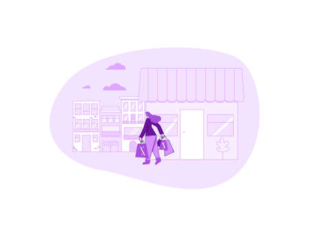 Retail concept. Female with shopping bags going home after shopping. Young woman dressed in casual trendy clothes walking at the outlet street. Clearance.