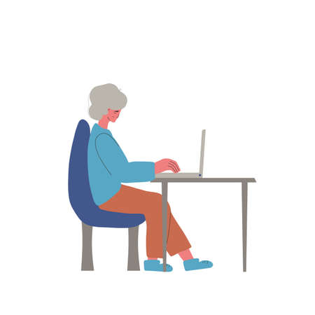 Video call. Interview online. Senior woman sitting on laptop and working.