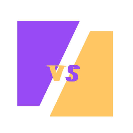 Versus sign with copy space. VS screen. Decorative battle cover with lettering and copy space. Template for banner for competition.