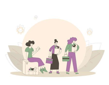 Unemployment concept. Dismissed sad characters holding paper box. Work crisis. Three fired unhappy women standing with his things. Job search. Vector flat illustration. 일러스트